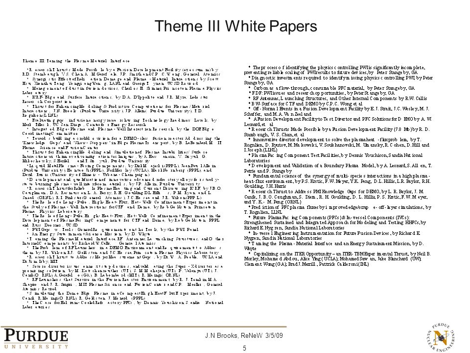 J.N Brooks, ReNeW 3/5/09 5 Theme III White Papers