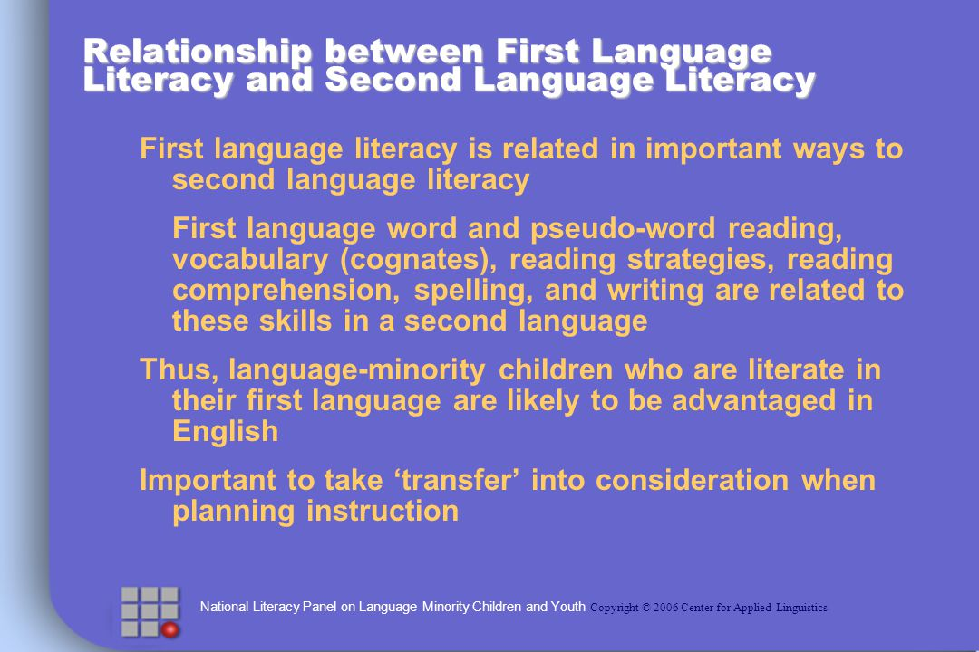 National Literacy Panel on Language Minority Children and Youth Copyright © 2006 Center for Applied Linguistics Relationship between First Language Literacy and Second Language Literacy First language literacy is related in important ways to second language literacy First language word and pseudo-word reading, vocabulary (cognates), reading strategies, reading comprehension, spelling, and writing are related to these skills in a second language Thus, language-minority children who are literate in their first language are likely to be advantaged in English Important to take transfer into consideration when planning instruction