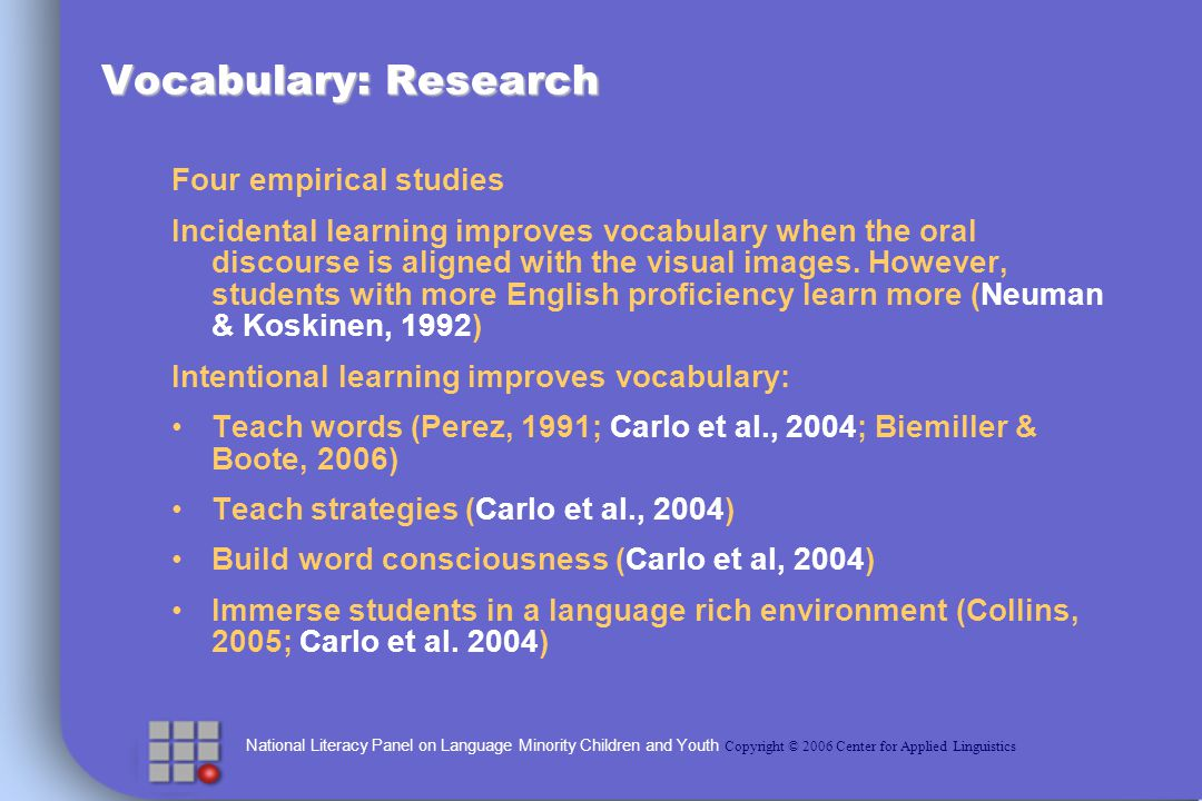 National Literacy Panel on Language Minority Children and Youth Copyright © 2006 Center for Applied Linguistics Vocabulary: Research Four empirical studies Incidental learning improves vocabulary when the oral discourse is aligned with the visual images.