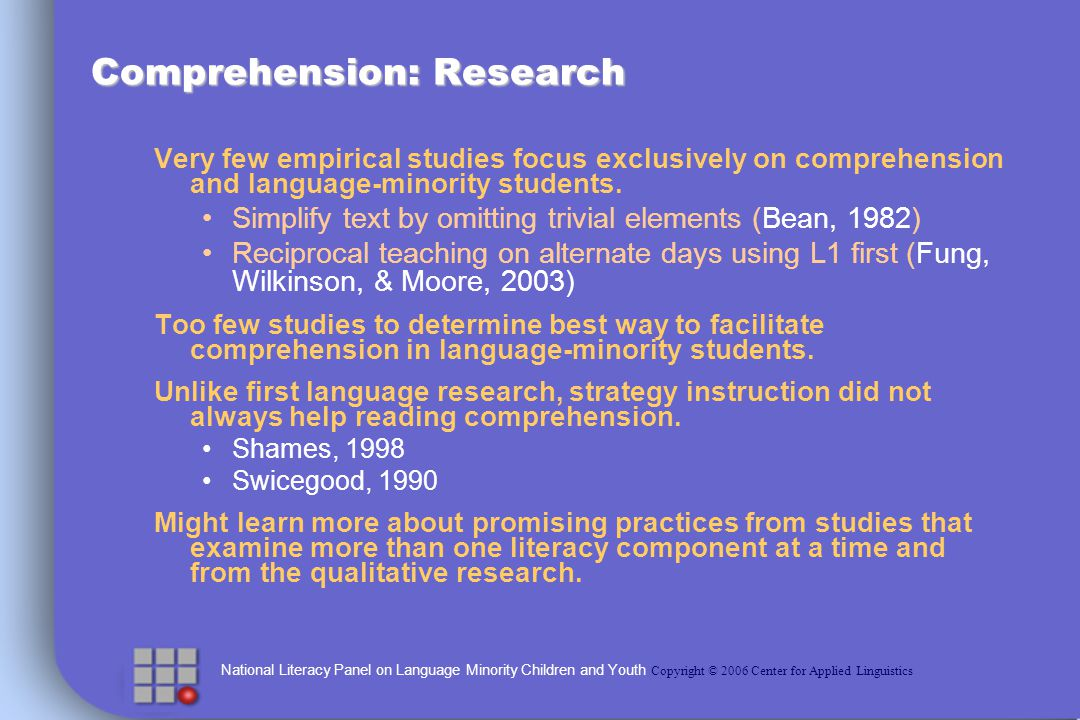 National Literacy Panel on Language Minority Children and Youth Copyright © 2006 Center for Applied Linguistics Comprehension: Research Very few empirical studies focus exclusively on comprehension and language-minority students.