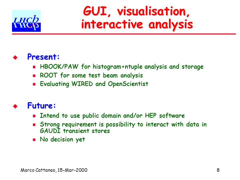 Marco Cattaneo, 15-Mar-200019 Conclusions GAUDI Architecture designed with third-party components in mind GAUDI Architecture designed with third-party components in mind Abstract interfaces to allow plug and play solutions LHCb keen to reuse third party software wherever possible LHCb keen to reuse third party software wherever possible And to minimise risks by choosing widely accepted solutions LHCb keen to participate in development of common solutions LHCb keen to participate in development of common solutions But worried about definition and accountability of existing projects