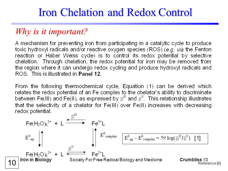 Iron in Biology Society For Free Radical Biology and Medicine Crumbliss 10 Iron Chelation and Redox Control Why is it important.