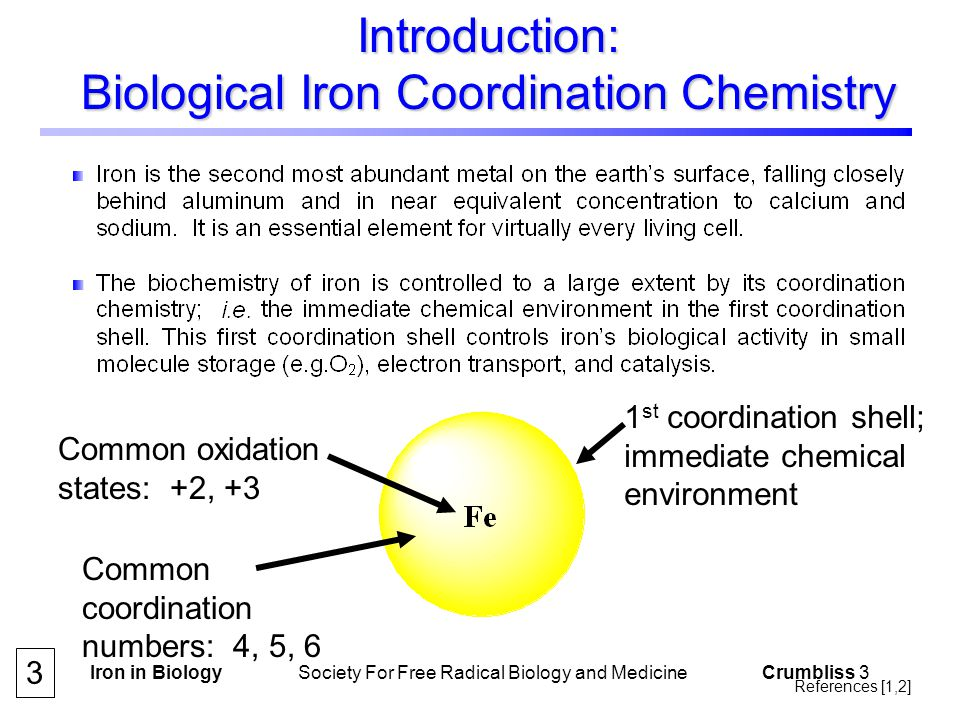 Iron in Biology Society For Free Radical Biology and Medicine Crumbliss 4 Introduction: Biological Iron Coordination Chemistry 4 References [1,2]