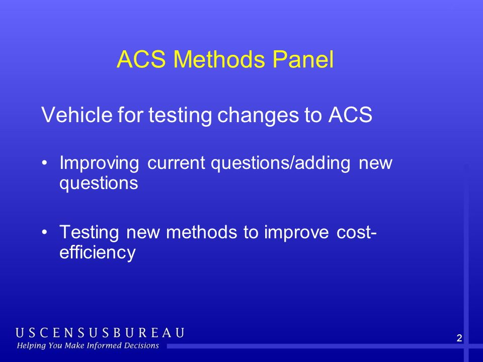 3 FY 2010 ACS Methods Panel Results of two tests from 2009 Conduct one test Plan for two future tests