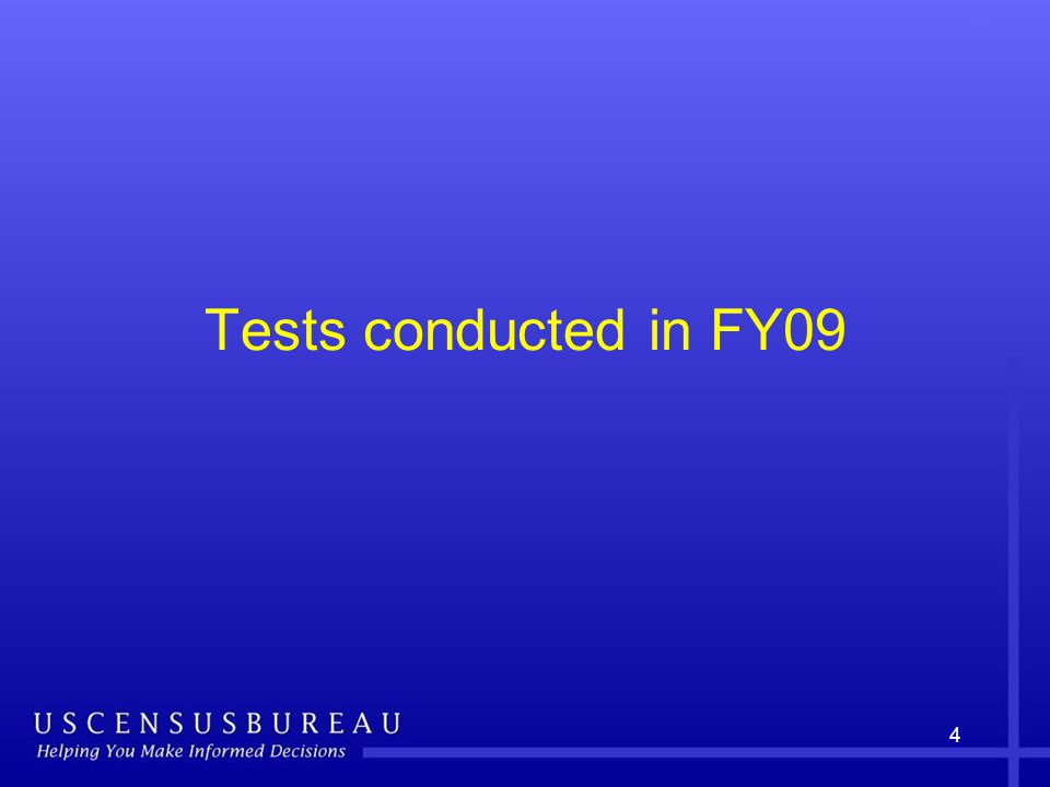 4 Tests conducted in FY09