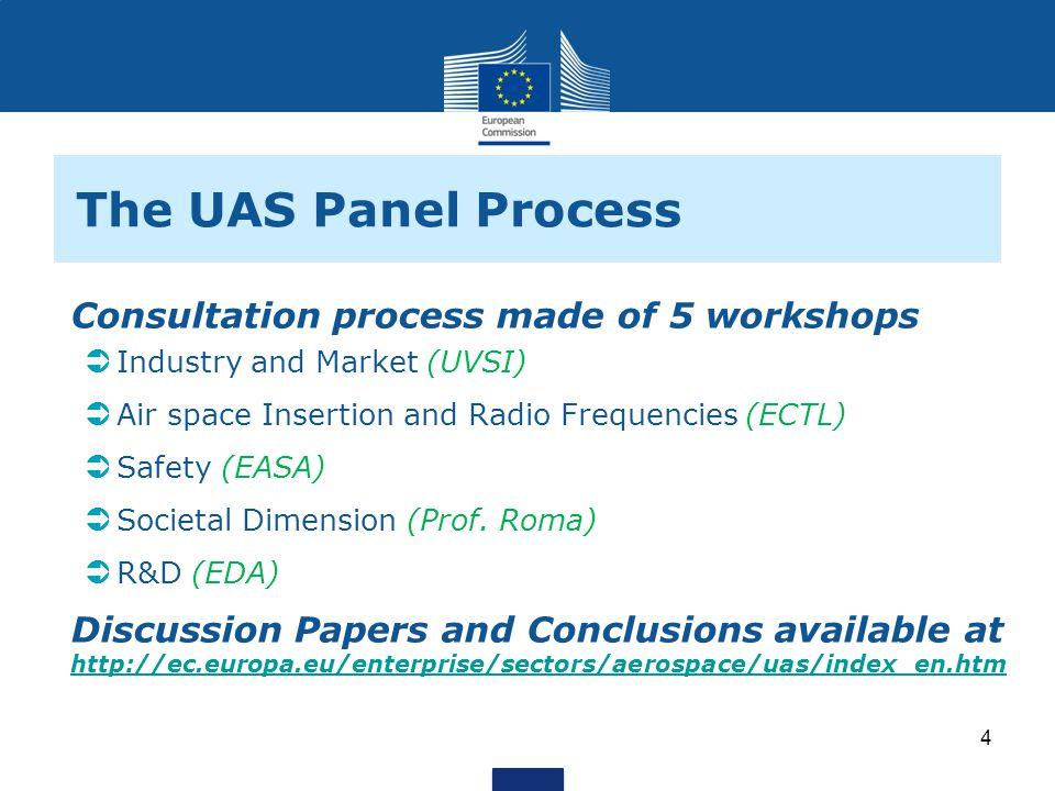 The UAS Panel Process Consultation process made of 5 workshops Industry and Market (UVSI) Air space Insertion and Radio Frequencies (ECTL) Safety (EASA) Societal Dimension (Prof.