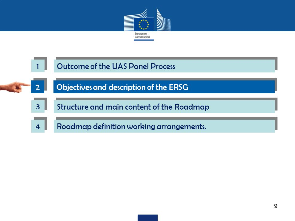2 2 Objectives and description of the ERSG 9 1 1 Outcome of the UAS Panel Process 3 3 Structure and main content of the Roadmap 4 4 Roadmap definition working arrangements.