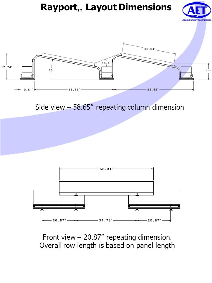 Rayport TM Layout Dimensions Side view – 58.65 repeating column dimension Front view – 20.87 repeating dimension. Overall row length is based on panel