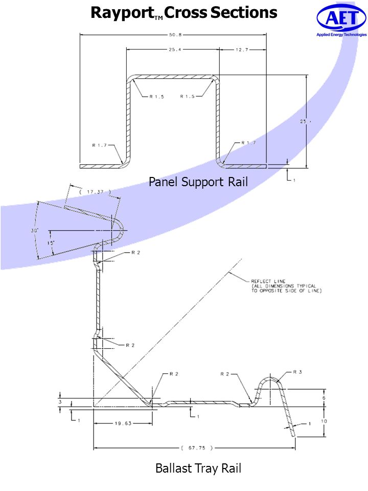 Rayport TM Cross Sections Panel Support Rail Ballast Tray Rail