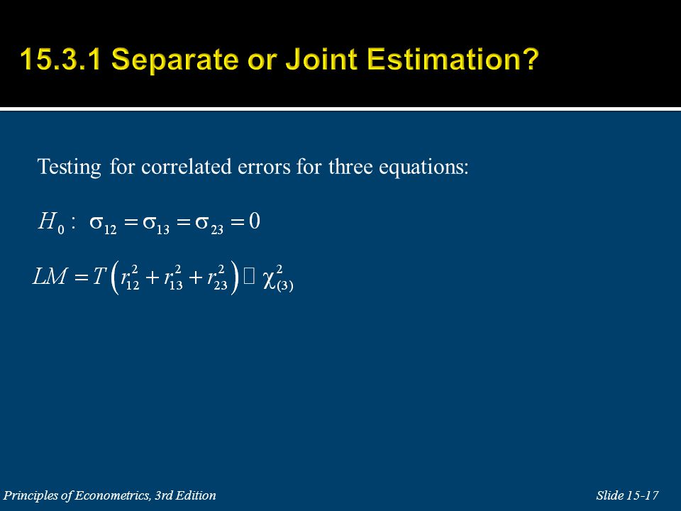 Testing for correlated errors for three equations: