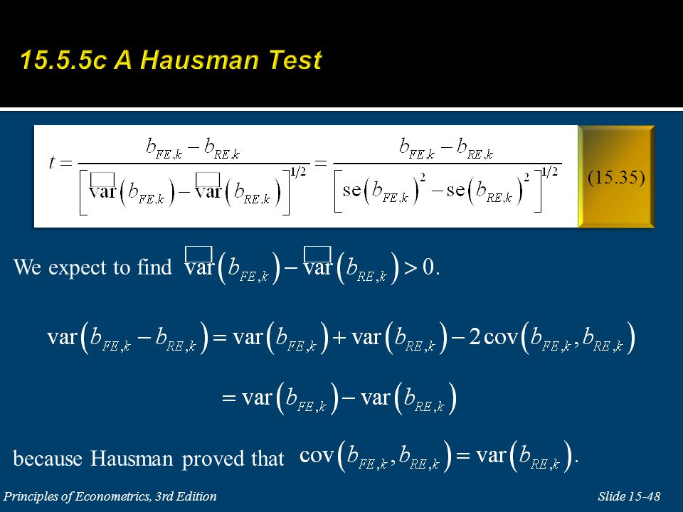 We expect to find because Hausman proved that
