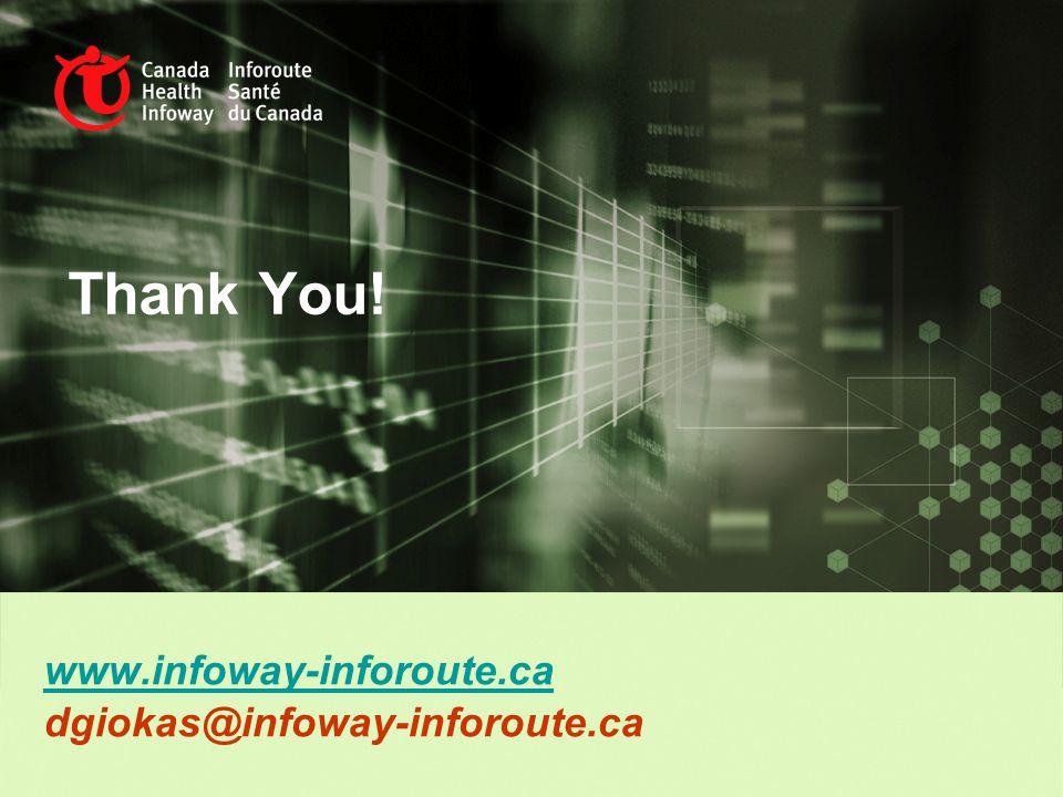 Thank You! www.infoway-inforoute.ca dgiokas@infoway-inforoute.ca