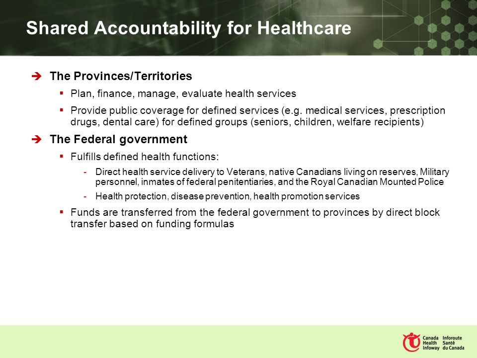 Shared Accountability for Healthcare The Provinces/Territories Plan, finance, manage, evaluate health services Provide public coverage for defined services (e.g.
