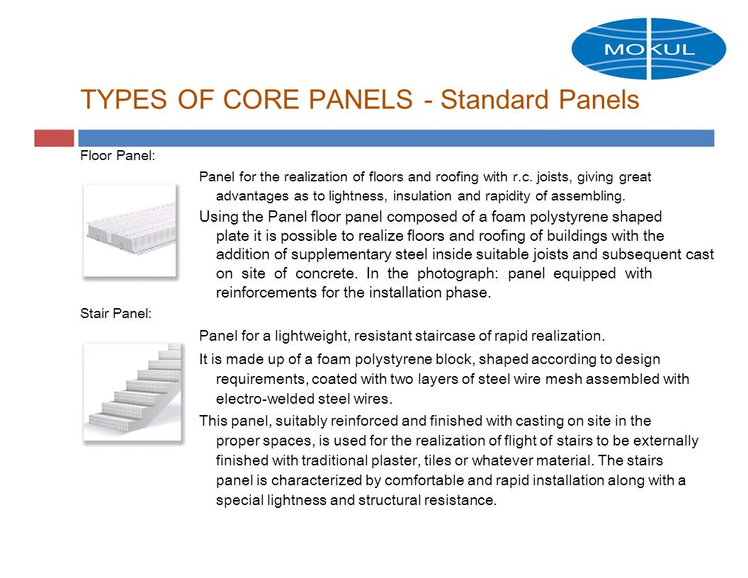 TYPES OF CORE PANELS - Standard Panels Floor Panel: Panel for the realization of floors and roofing with r.c.