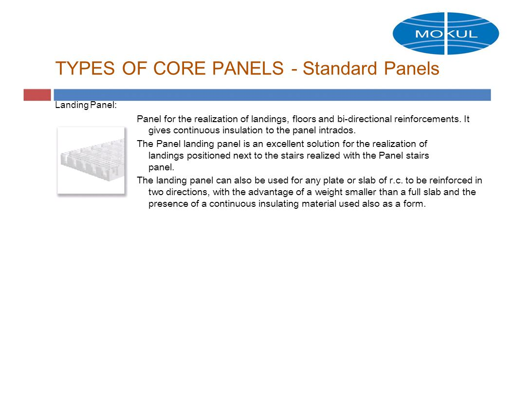 TYPES OF CORE PANELS - Standard Panels Landing Panel: Panel for the realization of landings, floors and bi-directional reinforcements.