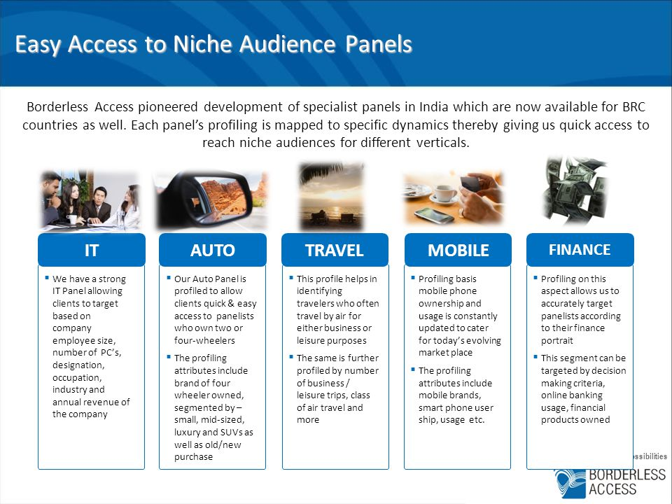 infinite insights, infinite possibilities Easy Access to Niche Audience Panels Borderless Access pioneered development of specialist panels in India which are now available for BRC countries as well.