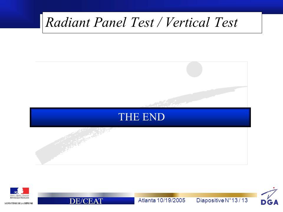 DE/CEAT Atlanta 10/19/2005Diapositive N°13 / 13 MINISTÈRE DE LA DÉFENSE Radiant Panel Test / Vertical Test THE END