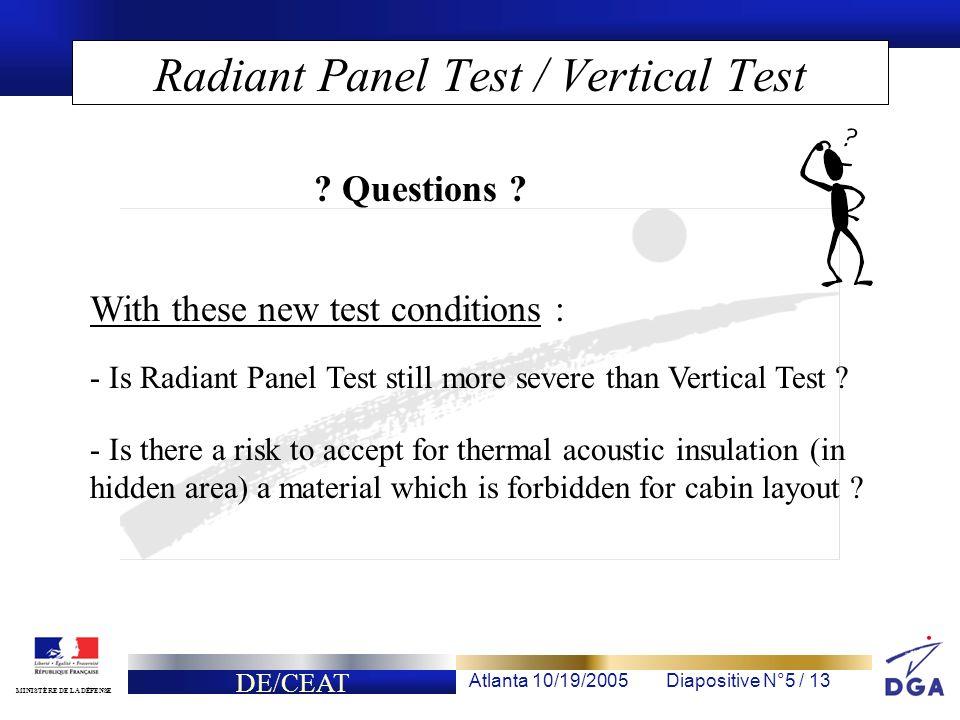 DE/CEAT Atlanta 10/19/2005Diapositive N°5 / 13 MINISTÈRE DE LA DÉFENSE Radiant Panel Test / Vertical Test - Is Radiant Panel Test still more severe than Vertical Test .