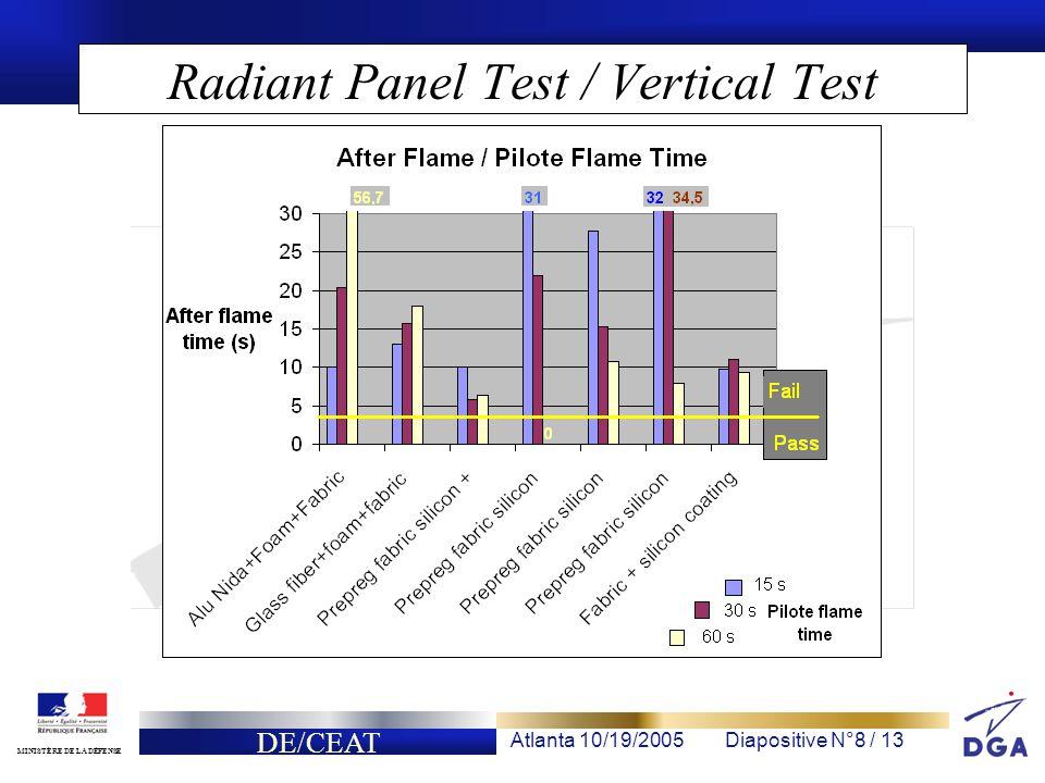 DE/CEAT Atlanta 10/19/2005Diapositive N°8 / 13 MINISTÈRE DE LA DÉFENSE Radiant Panel Test / Vertical Test