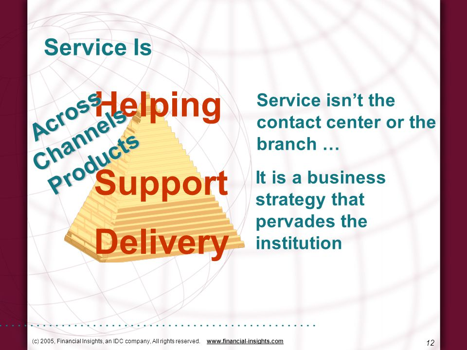 (c) 2005, Financial Insights, an IDC company, All rights reserved. www.financial-insights.com 12 Service Is Service isnt the contact center or the bra