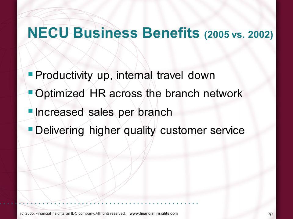 (c) 2005, Financial Insights, an IDC company, All rights reserved. www.financial-insights.com 26 NECU Business Benefits (2005 vs. 2002) Productivity u