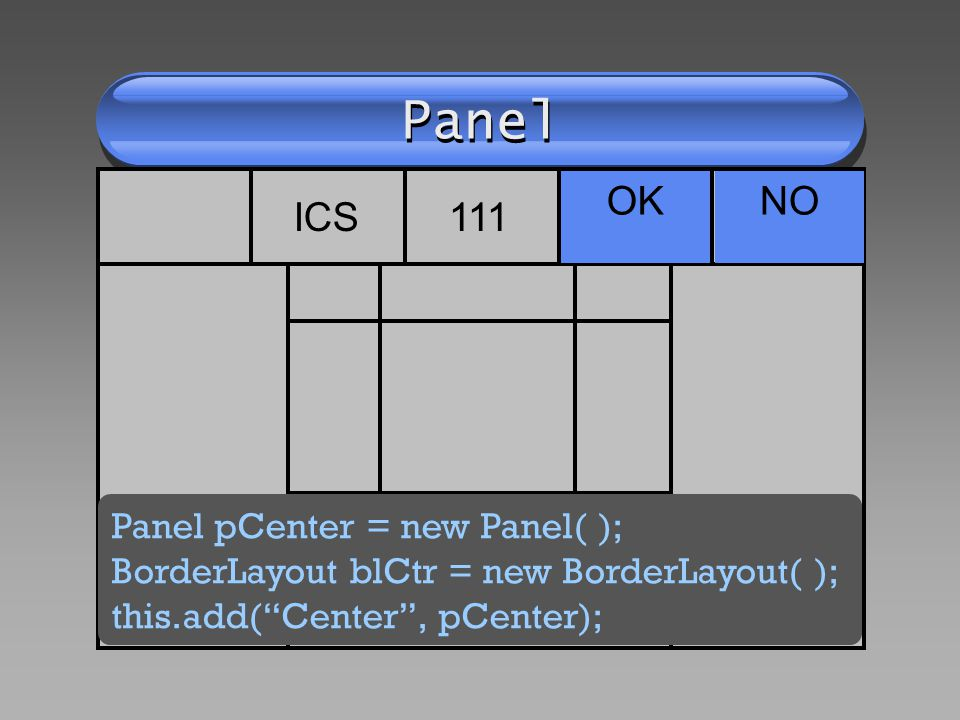 Panel OKNO ICS111 Panel pCenter = new Panel( ); BorderLayout blCtr = new BorderLayout( ); this.add(Center, pCenter);