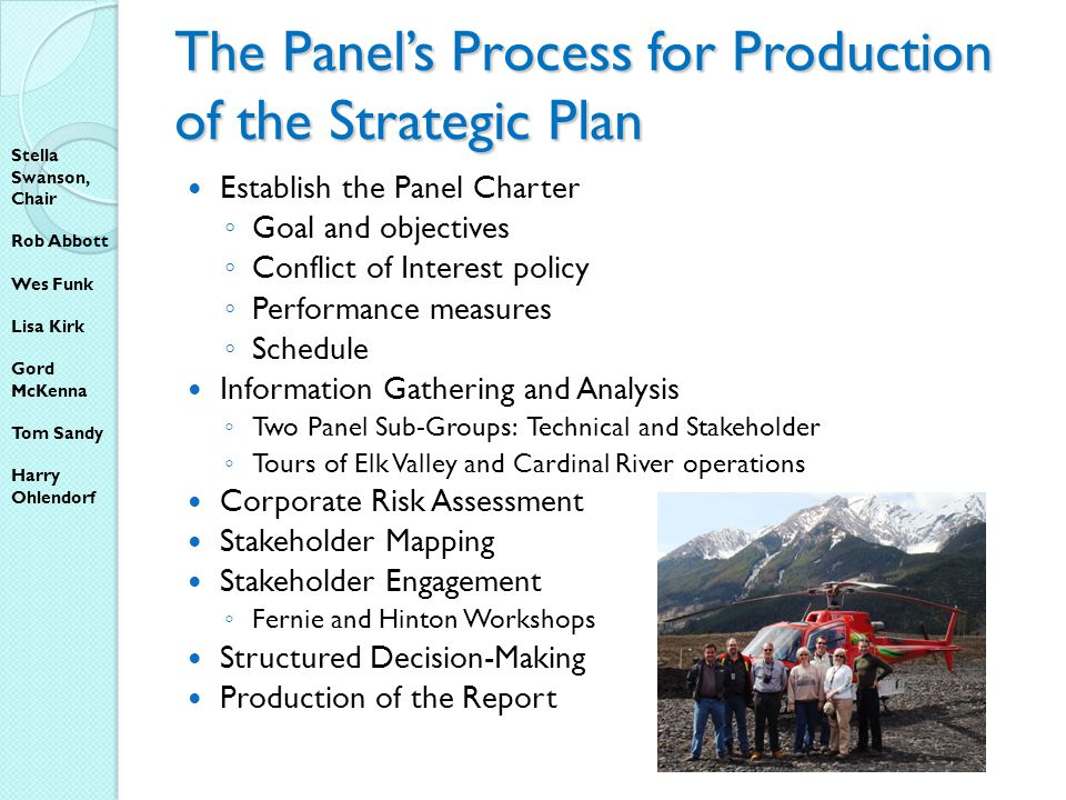 The Panels Process for Production of the Strategic Plan Establish the Panel Charter Goal and objectives Conflict of Interest policy Performance measures Schedule Information Gathering and Analysis Two Panel Sub-Groups: Technical and Stakeholder Tours of Elk Valley and Cardinal River operations Corporate Risk Assessment Stakeholder Mapping Stakeholder Engagement Fernie and Hinton Workshops Structured Decision-Making Production of the Report Stella Swanson, Chair Rob Abbott Wes Funk Lisa Kirk Gord McKenna Tom Sandy Harry Ohlendorf