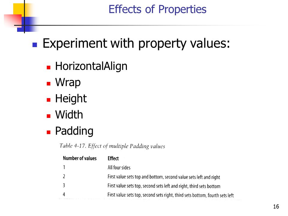 16 Effects of Properties Experiment with property values: HorizontalAlign Wrap Height Width Padding