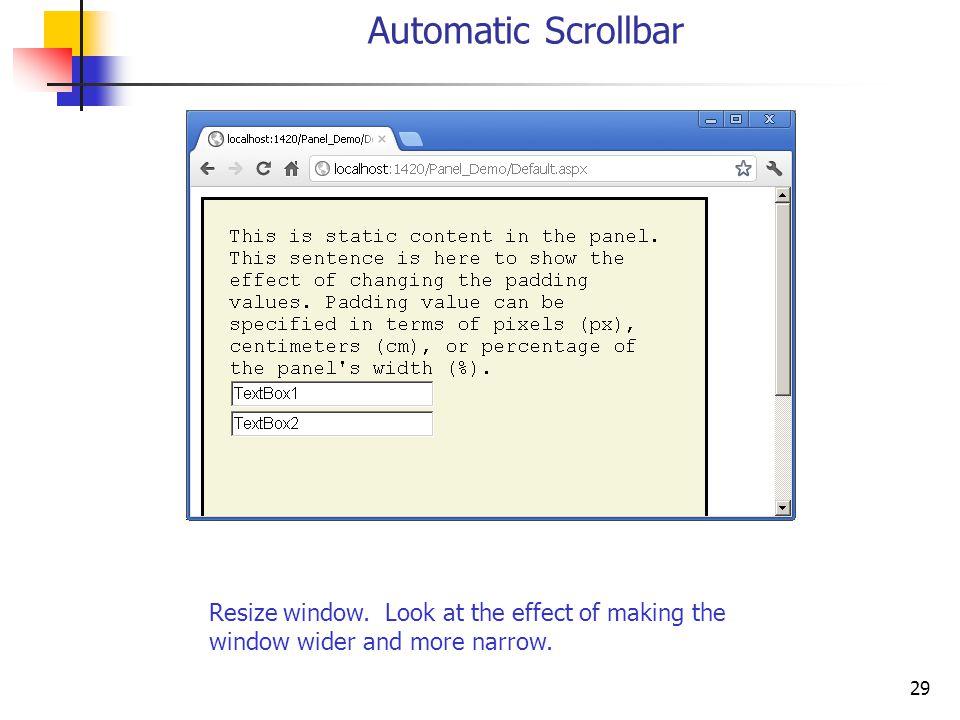 29 Automatic Scrollbar Resize window.