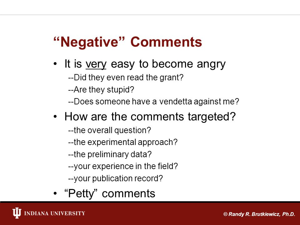Negative Comments It is very easy to become angry --Did they even read the grant.