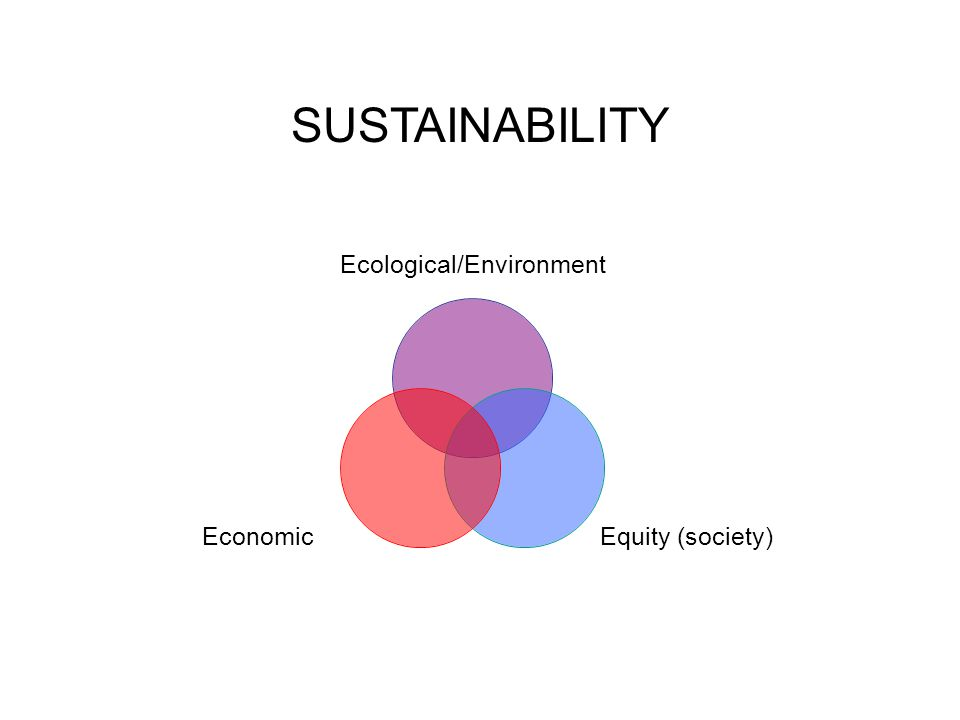 Ecological/Environment Equity (society)Economic SUSTAINABILITY