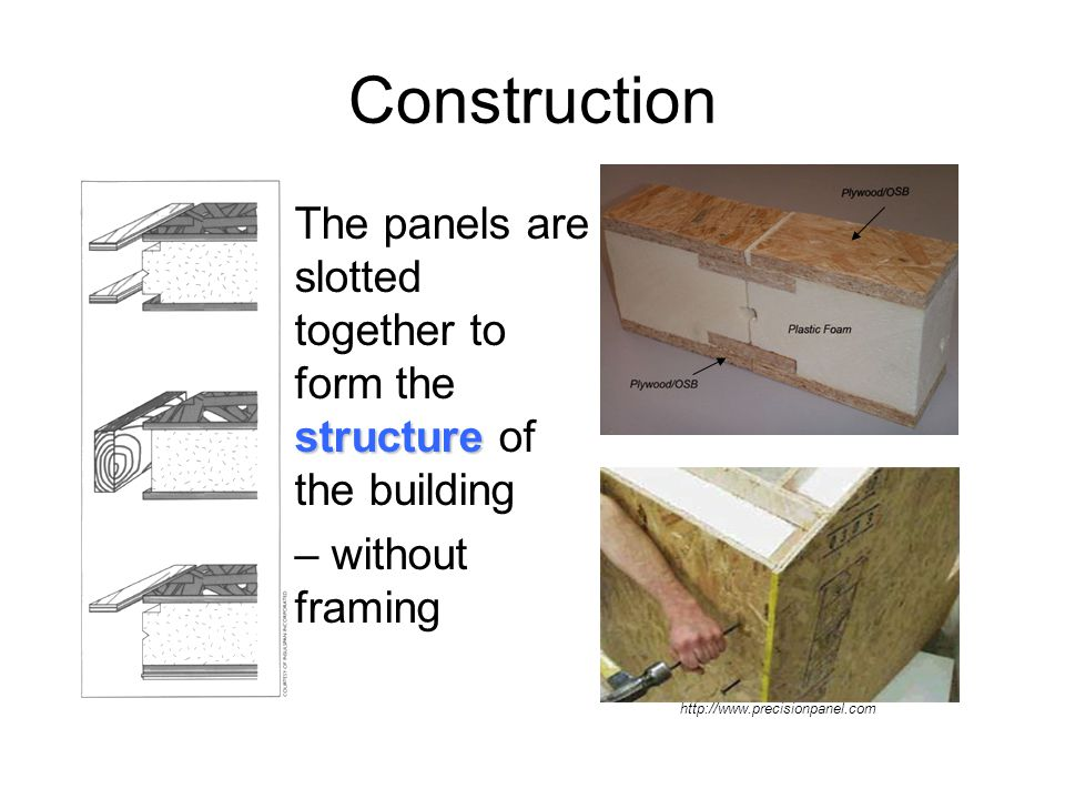 Structurally Insulated Panel Systems (SIPs) Can be used as: Walls Floors Roofs Interior walls Additions to other construction systems Kingspan