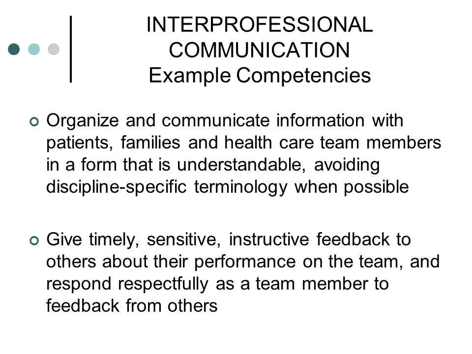INTERPROFESSIONAL COMMUNICATION Example Competencies Organize and communicate information with patients, families and health care team members in a fo