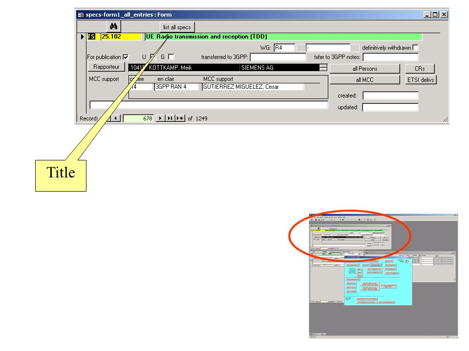 Search for spec dialogue box Hint: set match parameter to any part of field for ease of use.