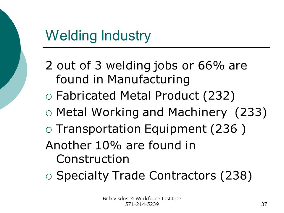 Bob Visdos & Workforce Institute 571-214-523937 Welding Industry 2 out of 3 welding jobs or 66% are found in Manufacturing Fabricated Metal Product (232) Metal Working and Machinery (233) Transportation Equipment (236 ) Another 10% are found in Construction Specialty Trade Contractors (238)