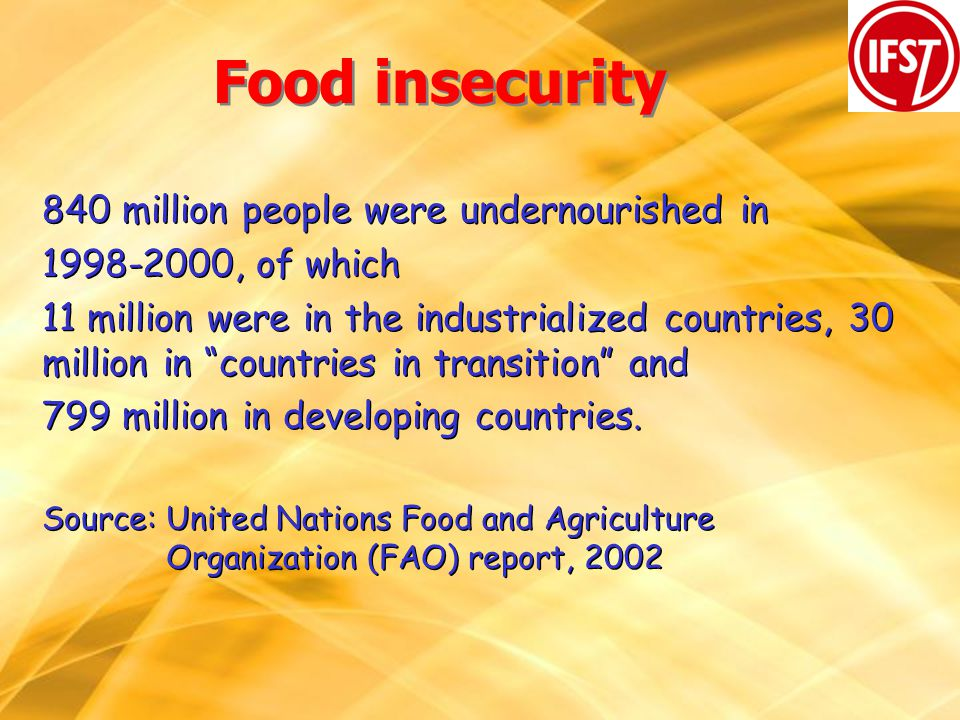 Food insecurity 840 million people were undernourished in 1998-2000, of which 11 million were in the industrialized countries, 30 million in countries in transition and 799 million in developing countries.