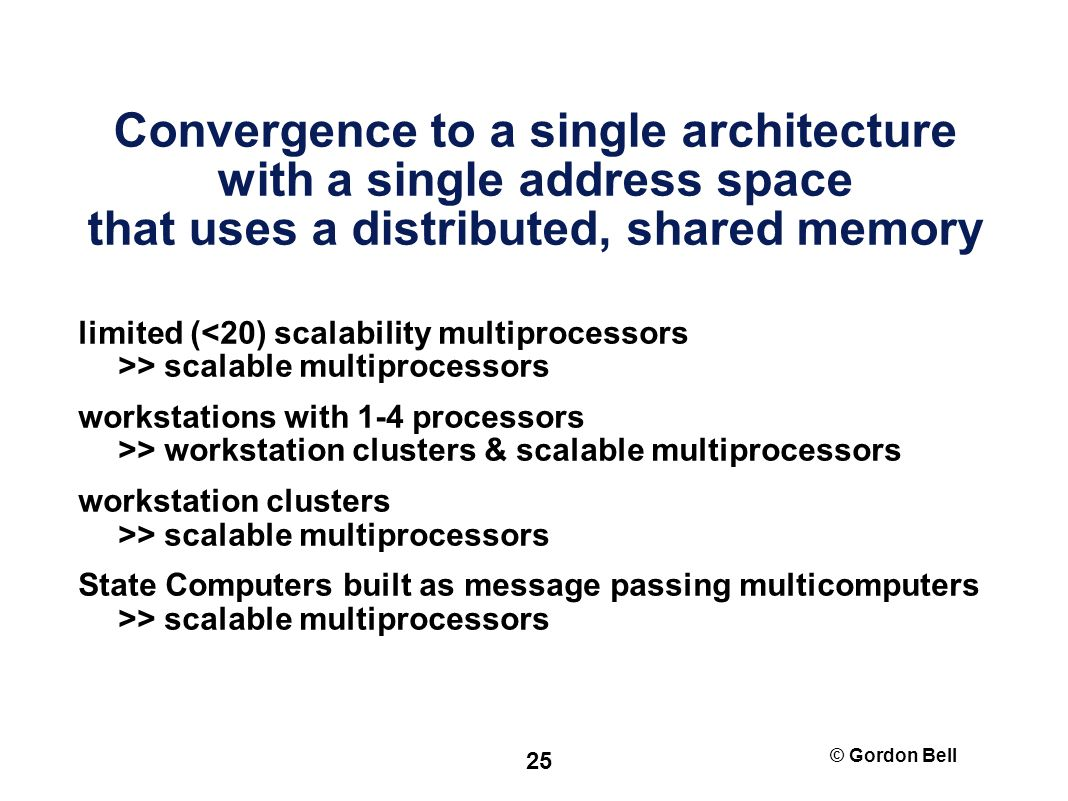 © Gordon Bell 25 Convergence to a single architecture with a single address space that uses a distributed, shared memory limited ( > scalable multiprocessors workstations with 1-4 processors >> workstation clusters & scalable multiprocessors workstation clusters >> scalable multiprocessors State Computers built as message passing multicomputers >> scalable multiprocessors