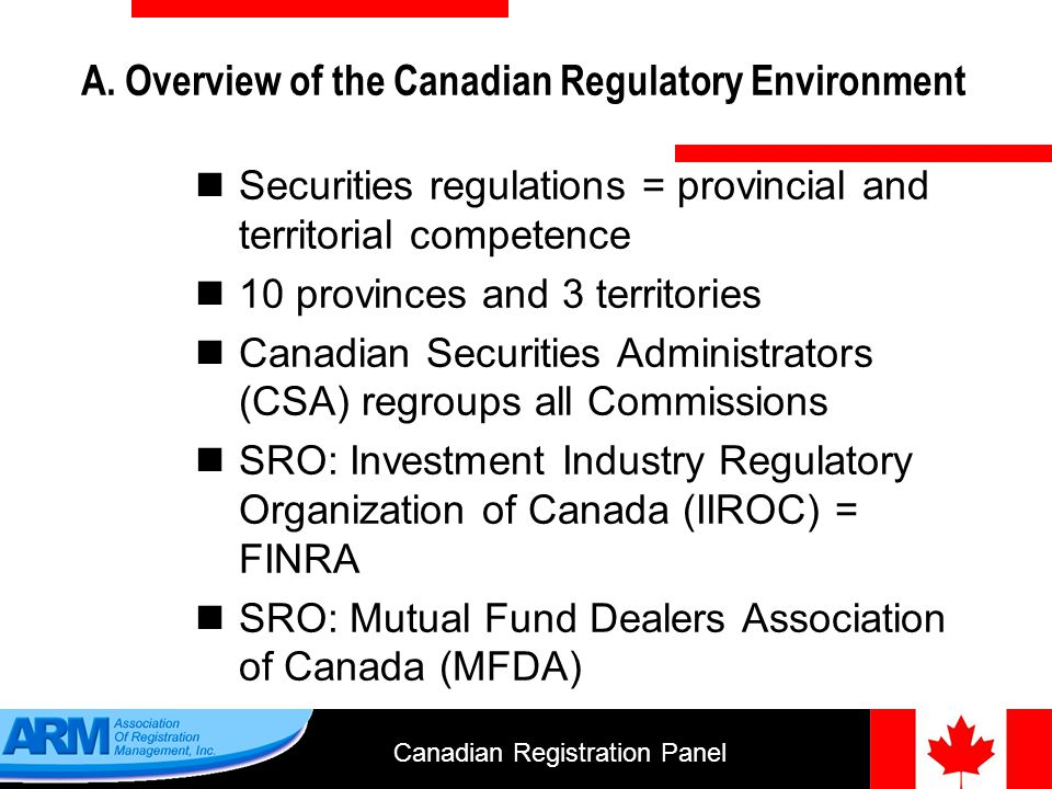 Canadian Registration Panel 14 Non-Resident Investment Fund Manager A.In Ontario, Quebec and Newfoundland & Labrador Are you acting as an IFM.