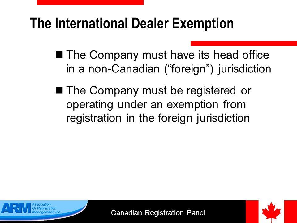 Canadian Registration Panel 20 Adviser Categories 6.Portfolio manager 7.Restricted portfolio manager