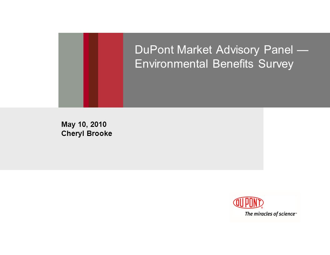 DuPont Market Advisory Panel Environmental Benefits Survey May 10, 2010 Cheryl Brooke