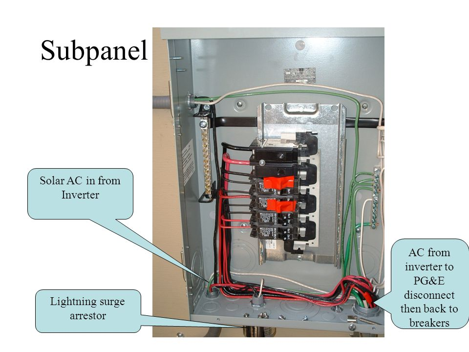 Subpanel Solar AC in from Inverter Lightning surge arrestor AC from inverter to PG&E disconnect then back to breakers