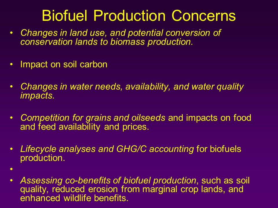 Biofuel Production Concerns Changes in land use, and potential conversion of conservation lands to biomass production.