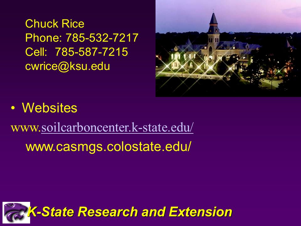Websites     K-State Research and Extension Chuck Rice Phone: Cell: