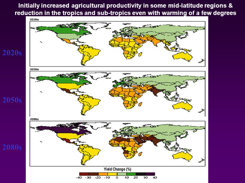 2020s 2050s 2080s Initially increased agricultural productivity in some mid-latitude regions & reduction in the tropics and sub-tropics even with warming of a few degrees