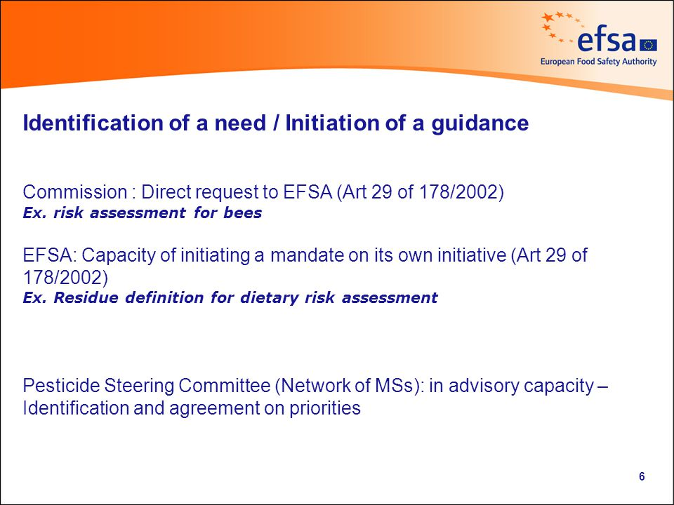 Drafting of a mandate (Concept paper) Background (Scientific and legal framework) Terms of Reference (exact scope of the guidance) Foreseen consultations Deadline Type of deliverable(s) : guidance of EFSA or guidance of the PPR Panel – Public consultation report – Case study Link to Mandates: http://www.efsa.europa.eu/en/request/requests.htm?wtrl=01 7
