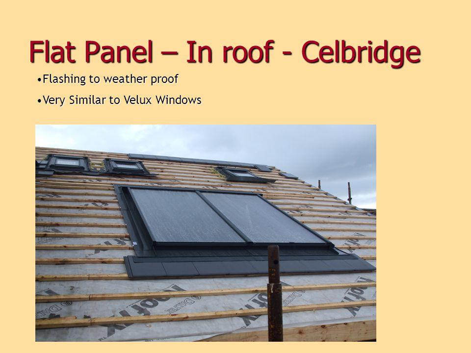 Flat Panel – In roof - Celbridge Flashing to weather proofFlashing to weather proof Very Similar to Velux WindowsVery Similar to Velux Windows
