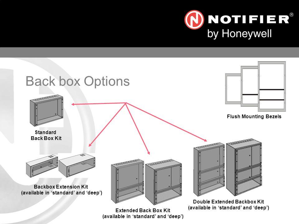 Standard Back Box Kit Extended Back Box Kit (available in standard and deep) Double Extended Backbox Kit (available in standard and deep) Backbox Extension Kit (available in standard and deep) Flush Mounting Bezels Back box Options
