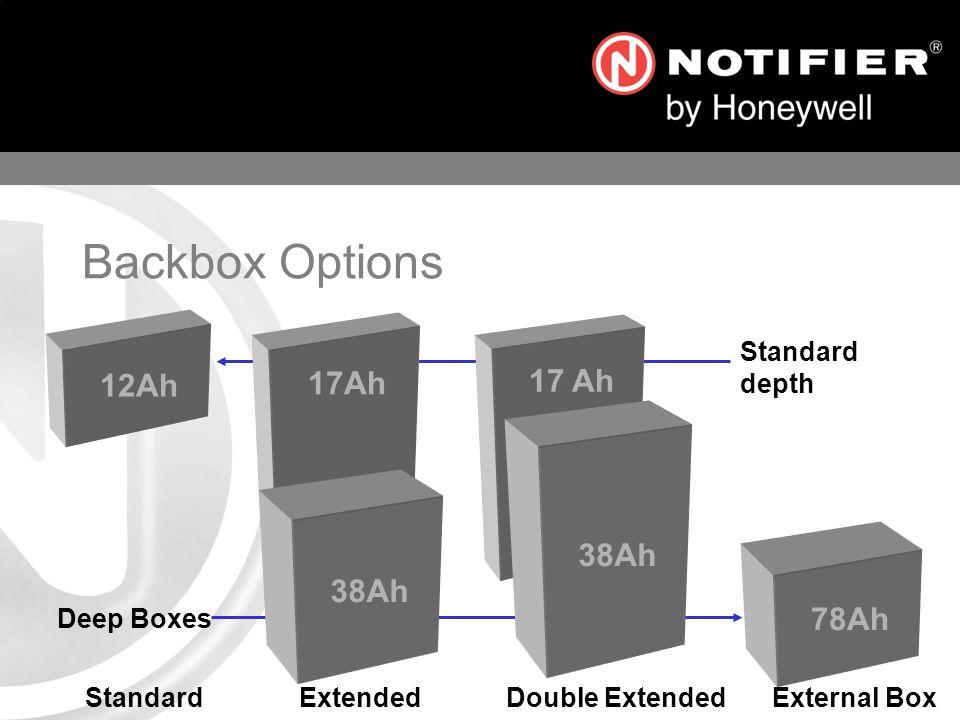 17Ah 38Ah 12Ah Standard Extended Double Extended External Box 78Ah 38Ah Standard depth Deep Boxes Backbox Options
