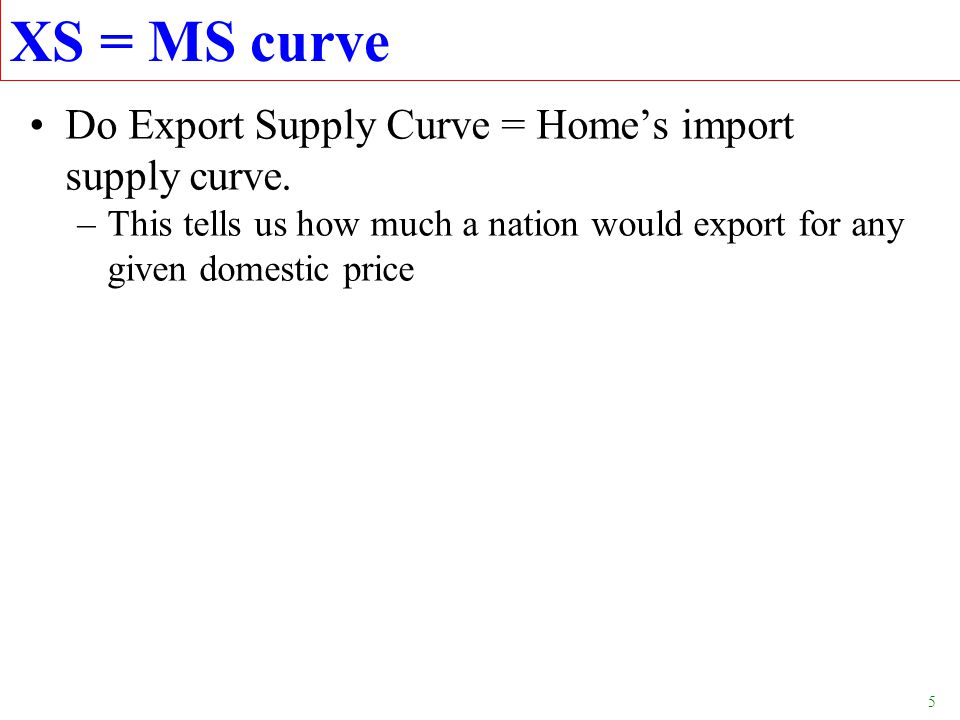 6 XS 4.Result is an upward-sloping Export Supply Curve, XS, from Foreign country.