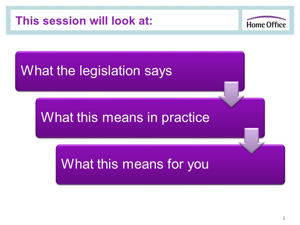 2 This session will look at: What the legislation saysWhat this means in practiceWhat this means for you